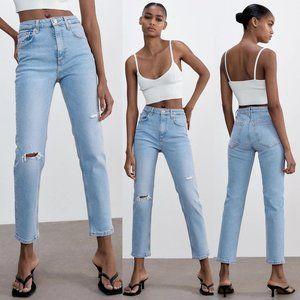 NEW Zara Slim Fit High Waist Rise Ripped Jeans Light Blue 8